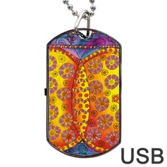 Patterned Butterfly Dog Tag USB Flash (One Side)