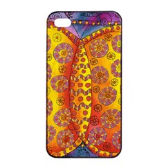 Patterned Butterfly Apple iPhone 4/4s Seamless Case (Black)