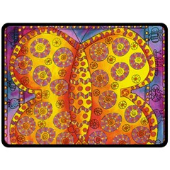 Patterned Butterfly Double Sided Fleece Blanket (Large)