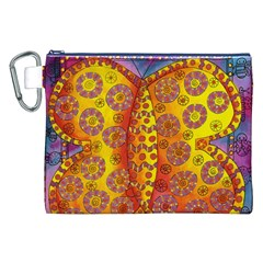 Patterned Butterfly Canvas Cosmetic Bag (XXL)