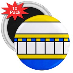 Stripes And Squares 3  Magnet (10 Pack)