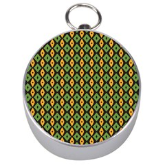 Green Yellow Rhombus Pattern Silver Compass