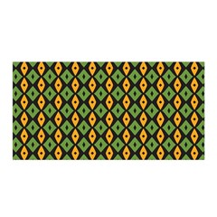 Green Yellow Rhombus Pattern Satin Wrap