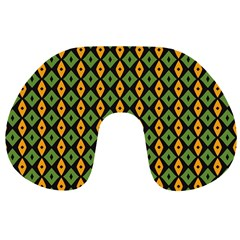 Green yellow rhombus pattern Travel Neck Pillow