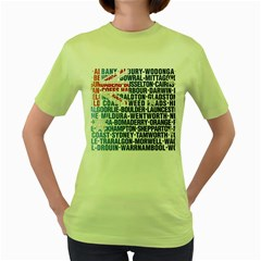 Australia Place Names Flag Women s Green T-Shirt