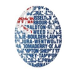 Australia Place Names Flag Oval Filigree Ornament (2-Side)