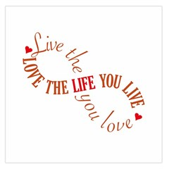 Live The Life You Love Large Satin Scarf (Square)