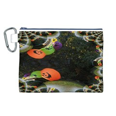Floating Pumpkins Canvas Cosmetic Bag (L)