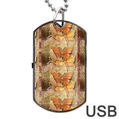 Butterflies Dog Tag USB Flash (One Side)