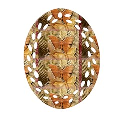 Butterflies Oval Filigree Ornament (2-Side)