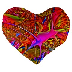 Biology 101 Abstract Large 19  Premium Flano Heart Shape Cushions