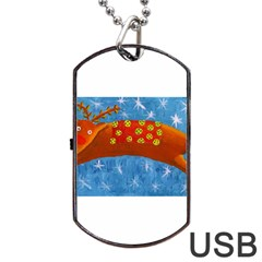 Rudolph The Reindeer Dog Tag USB Flash (One Side)