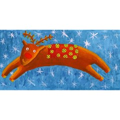 Rudolph The Reindeer You Are Invited 3d Greeting Card (8x4)