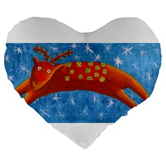 Rudolph The Reindeer Large 19  Premium Flano Heart Shape Cushions