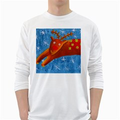 Rudolph The Reindeer White Long Sleeve T-Shirts