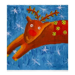 Rudolph The Reindeer Shower Curtain 66  x 72  (Large)