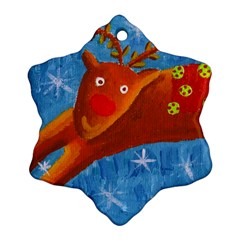 Rudolph The Reindeer Snowflake Ornament (2 Side)
