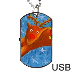 Rudolph The Reindeer Dog Tag Usb Flash (two Sides)