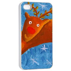 Rudolph The Reindeer Apple iPhone 4/4s Seamless Case (White)