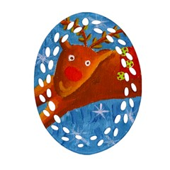 Rudolph The Reindeer Ornament (Oval Filigree)