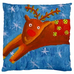 Rudolph The Reindeer Large Flano Cushion Cases (One Side)