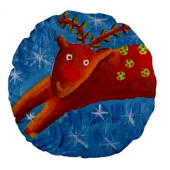 Rudolph The Reindeer Large 18  Premium Flano Round Cushions