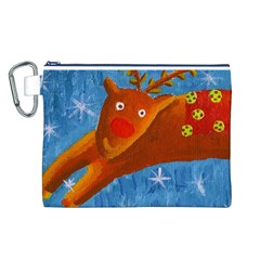 Rudolph The Reindeer Canvas Cosmetic Bag (l)