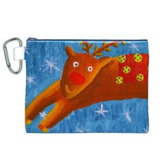 Rudolph The Reindeer Canvas Cosmetic Bag (XL)