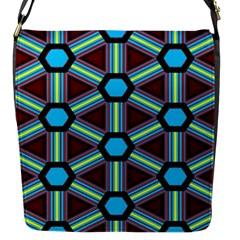 Stripes And Hexagon Pattern Flap Closure Messenger Bag (s)