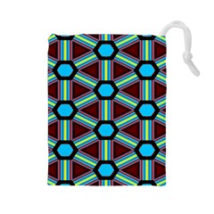 Stripes and hexagon pattern Drawstring Pouch
