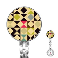 Rhombus And Triangles Pattern Stainless Steel Nurses Watch