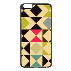 Rhombus and triangles pattern Apple iPhone 6 Plus Black Enamel Case