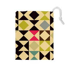 Rhombus and triangles pattern Drawstring Pouch