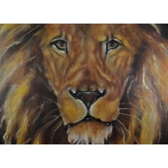 Cecil The African Lion Birthday Cake 3D Greeting Card (7x5)