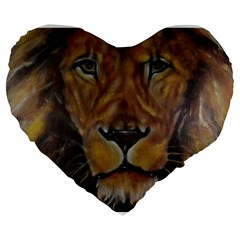 Cecil The African Lion Large 19  Premium Flano Heart Shape Cushions