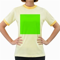 Bright Fluorescent Neon Green Women s Fitted Ringer T-Shirts