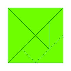 Bright Fluorescent Neon Green Acrylic Tangram Puzzle (6  x 6 )