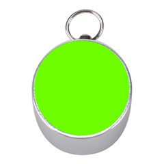 Bright Fluorescent Neon Green Mini Silver Compasses