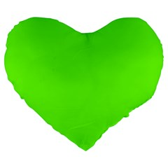 Bright Fluorescent Neon Green Large 19  Premium Flano Heart Shape Cushions