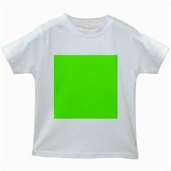 Bright Fluorescent Neon Green Kids White T-Shirts