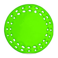 Bright Fluorescent Neon Green Ornament (Round Filigree)
