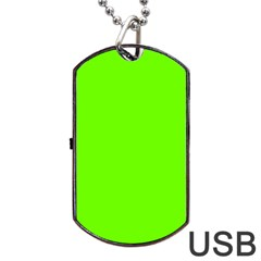 Bright Fluorescent Neon Green Dog Tag USB Flash (Two Sides)
