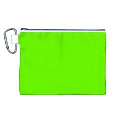 Bright Fluorescent Neon Green Canvas Cosmetic Bag (L)