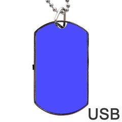 Neon Blue Dog Tag USB Flash (One Side)