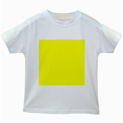 Bright Fluorescent Yellow Neon Kids White T-Shirts