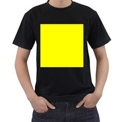 Bright Fluorescent Yellow Neon Men s T-Shirt (Black) (Two Sided)