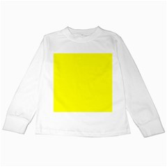Bright Fluorescent Yellow Neon Kids Long Sleeve T-Shirts