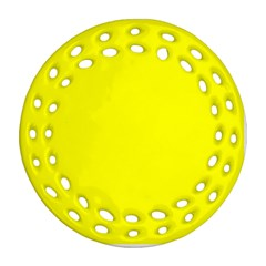 Bright Fluorescent Yellow Neon Round Filigree Ornament (2Side)