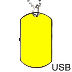 Bright Fluorescent Yellow Neon Dog Tag USB Flash (One Side)