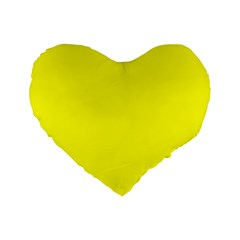 Bright Fluorescent Yellow Neon Standard 16  Premium Flano Heart Shape Cushions